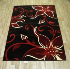 Modern Approx 6x4 115x165cm Woven Lily Design Rugs Sale Top Quality Black/Red